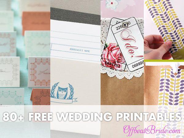 Tons of links to free wedding printables via Offbeat Tribe