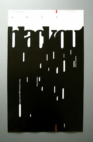 Negative space, simplicity, and visual balance are used very well in this poster.