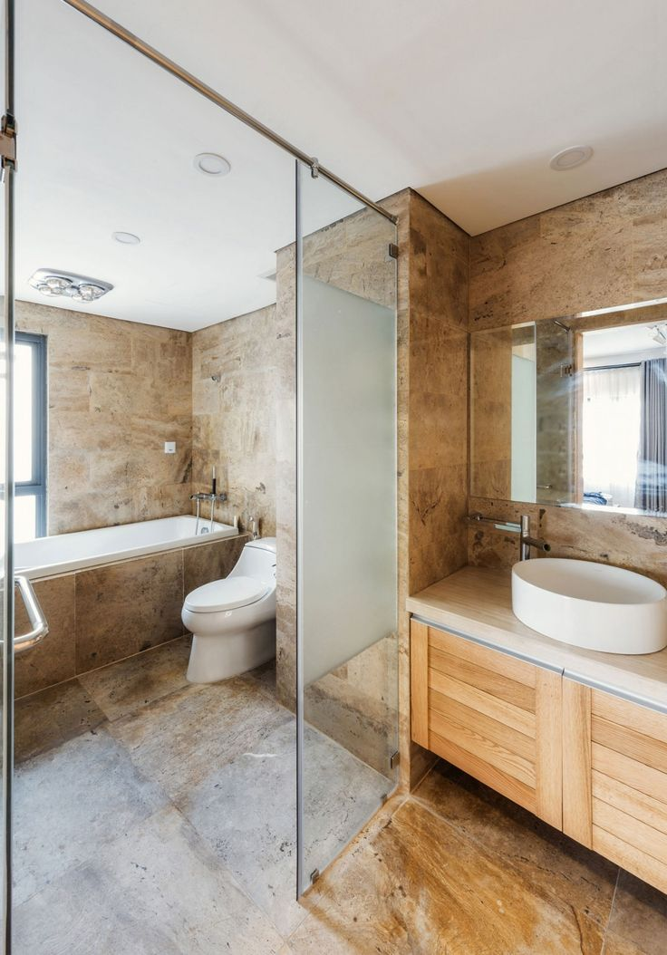Image On Apartment Interesting ML Apartment in Hanoi Vietnam Designed by Le Studio Elegant Bathroom from ML Apartment showing Textured Brown Wall and Floor Tile