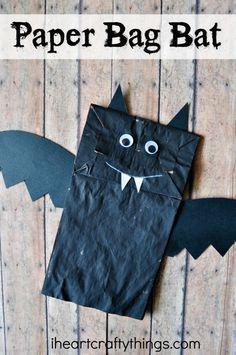 Simple and fun Paper Bag Bat Halloween Craft for Kids.