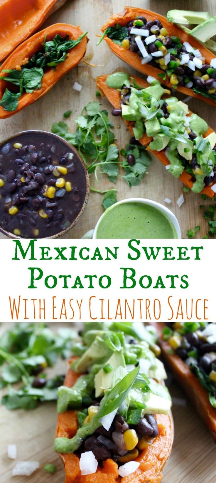 Mexican Sweet Potato Boats with Cilantro Sauce