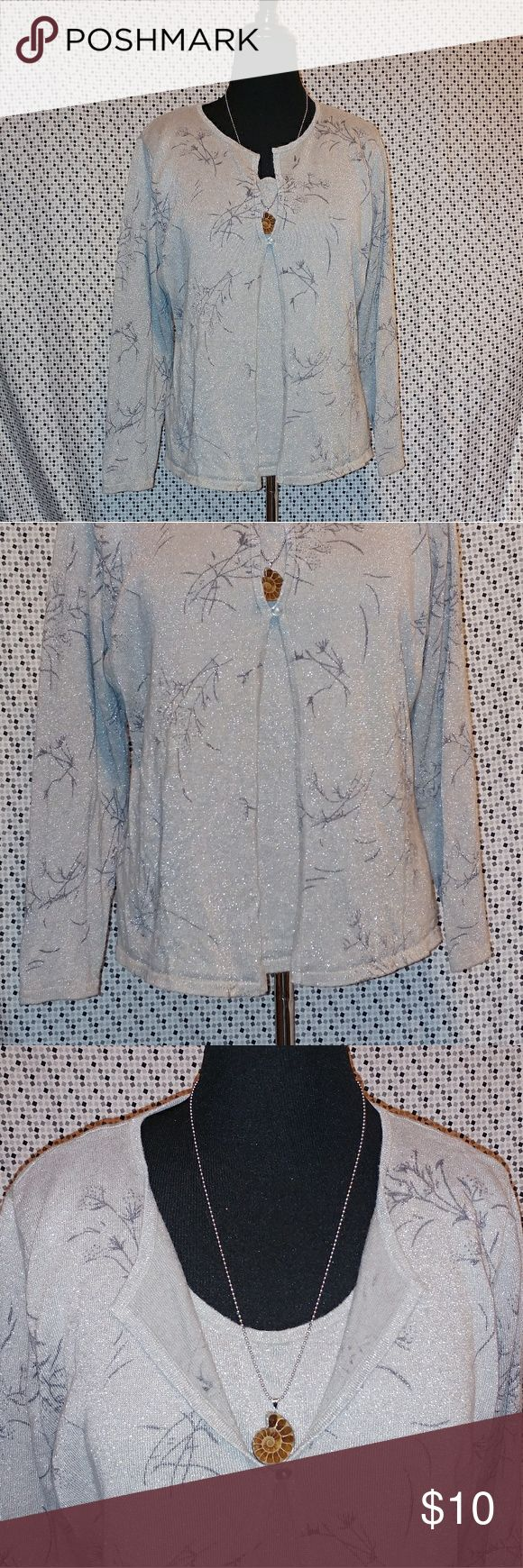 PLUS SIZE! Silver Cardigan Blouse w/ Built-in Cami EUC! Beautiful silver shimmer - perfect for the holidays. Smoke free home. John Paul Richard Sweaters Cardigans