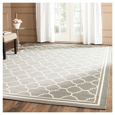 Renee Rectangle 2'3X18' Runner Outdoor Patio Rug - Anthracite / Beige - Safavieh, Black
