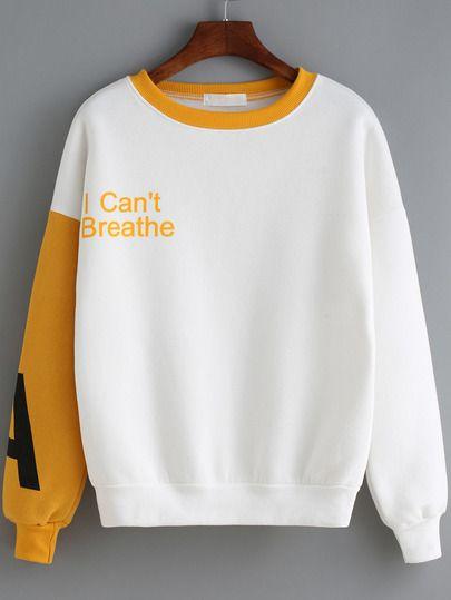 Sweatshirt Rundhals mit Buchstaben Druck - gelb und weiß