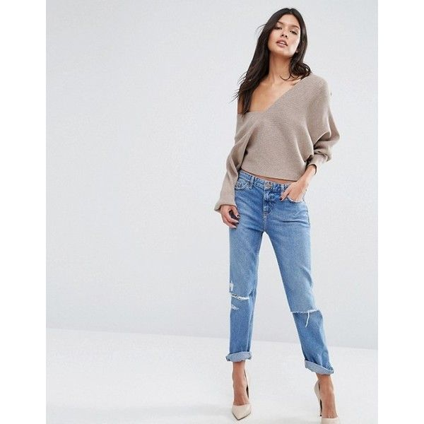 Missguided V Neck Batwing Jumper ($37) ❤ liked on Polyvore featuring tops, sweaters, batwing sweater, v neck sweater, v-neck tops, batwing tops and v neck batwing top