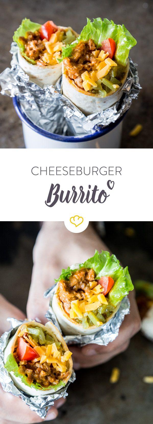 Ein guter Cheeseburger ist schon eine verdammt gute Erfindung. Ein Burrito aber auch. Trödel nicht lange rum und mixe einfach beides zusammen.