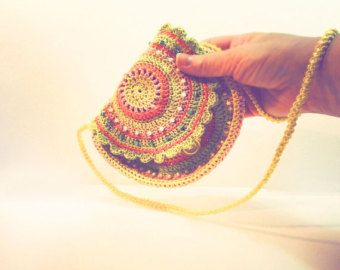 boho bag crochet, Hand crochet Purse, hippie, eco friendly, multicolored, yellow bag, round handbag, Bags and Purses, Hip Bag