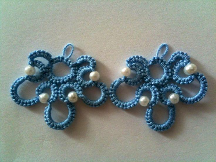 orecchini con chiacchierino ad ago | Chiaccherino | Pinterest