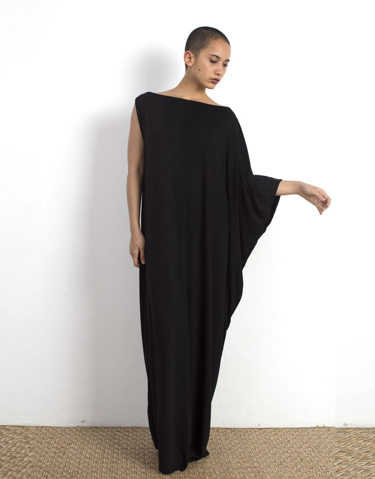Black Kaftan - Assymmetrical Maxi Dress Bamboo