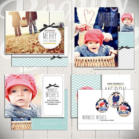 Christmas Card Template Merry Little by BeautyDivineDesign on Etsy
