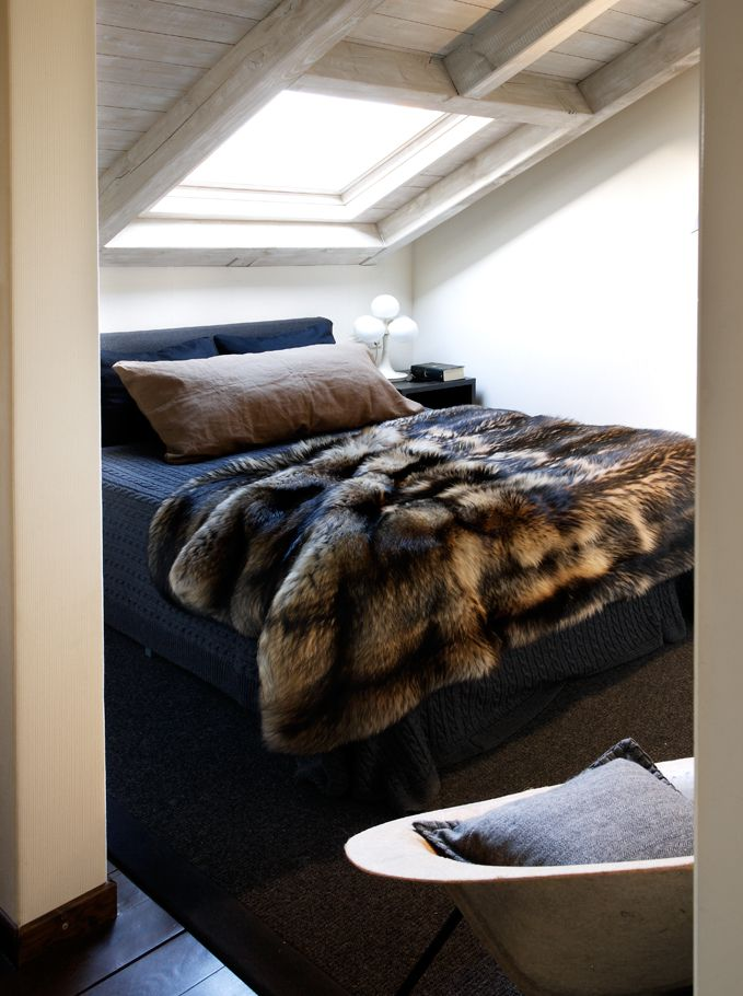I would love to have a skylight above my bed! Storms, sunning, natural alarm clock.... STARS + fur blanket