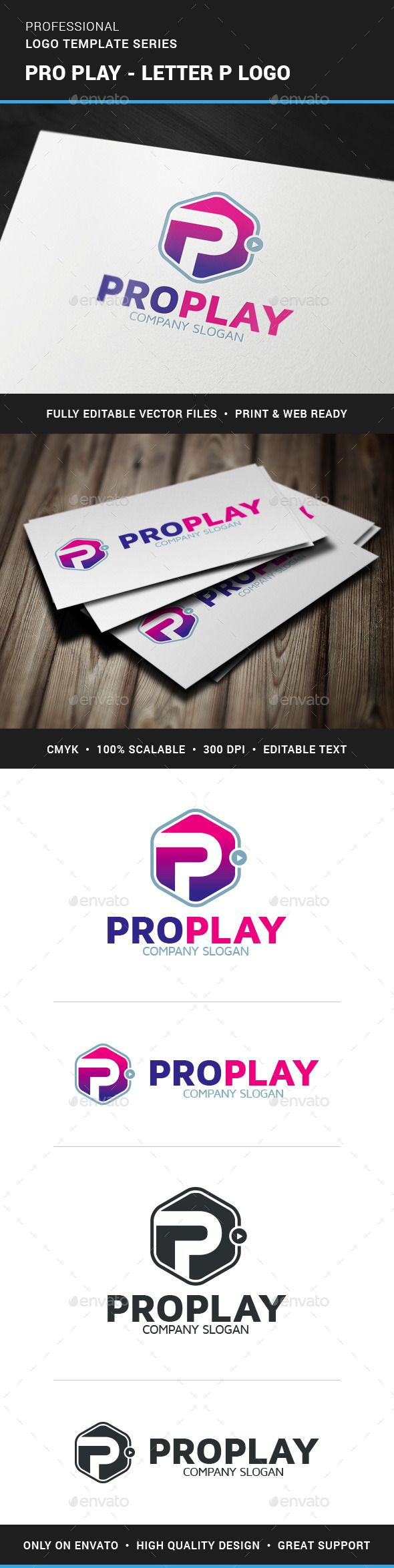 formats of business letters%0A Pro Play  Letter P Logo