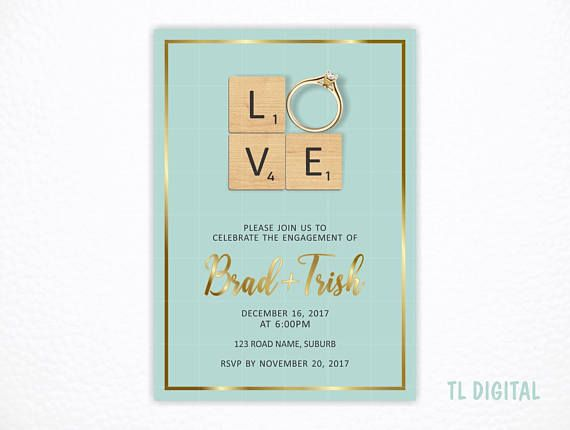 Scrabble Invitation Engagement/Save the date  Engagement Ring