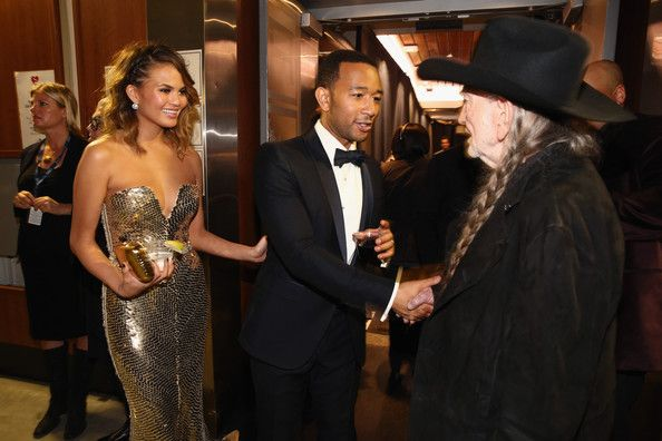 Chrissy Teigen, John Legend, and Willie Nelson - Inside the 56th Annual Grammy Awards