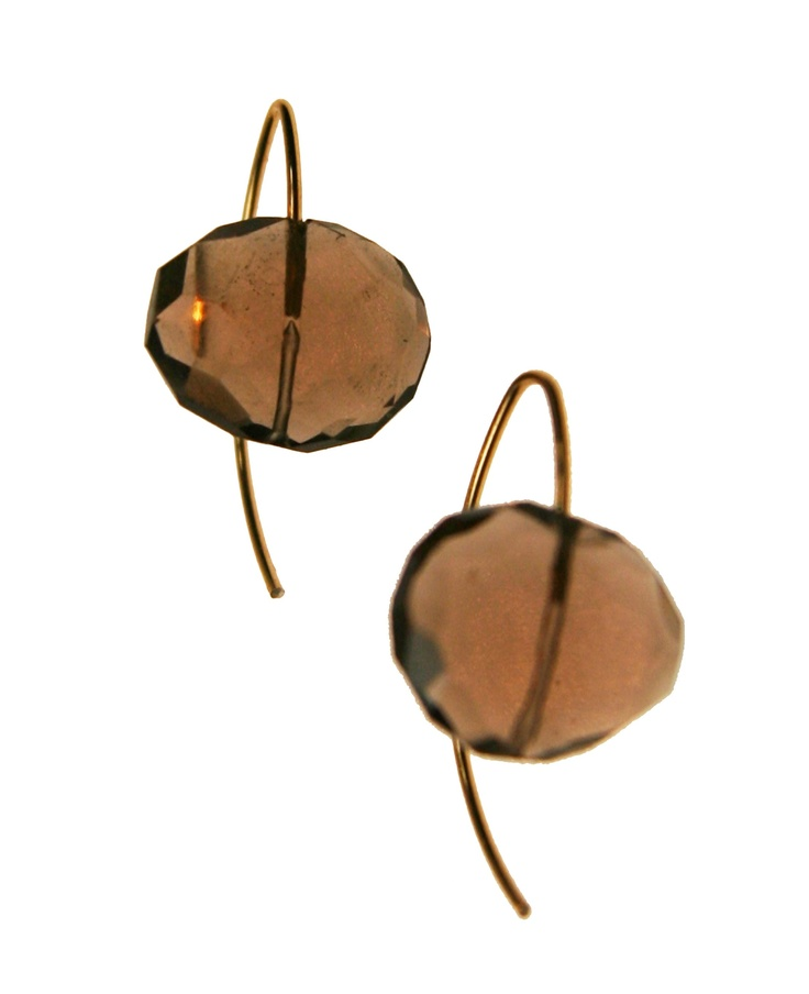 Melissa McArthur Jewellery Smoky Quartz Drop Earing in 22ct Gold Vermeil