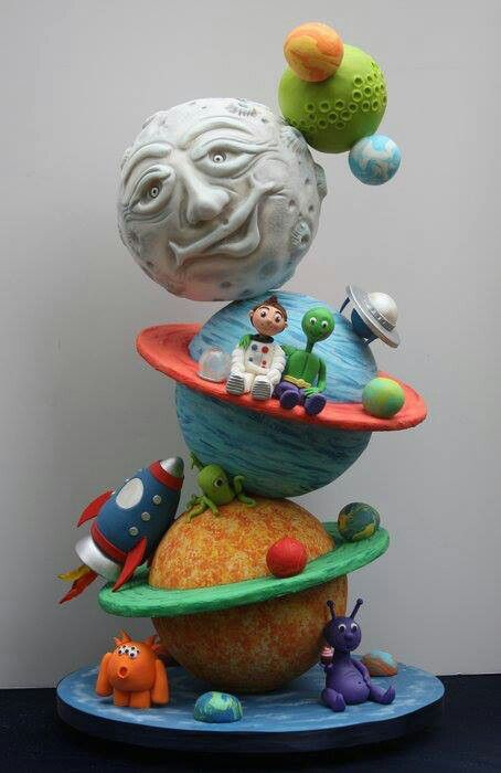 Outer-space birthday cake