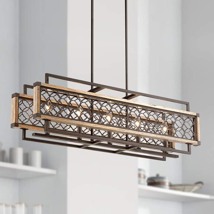 Vickary rustic bronze and wood 36 1 4w island chandelier style 1g890 kitchen lighting