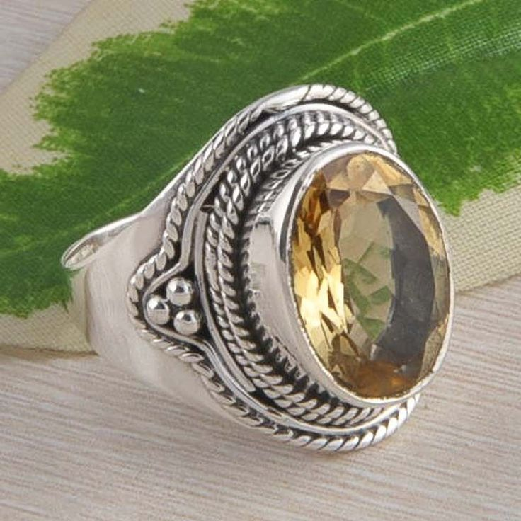 925 STERLING SILVER EXCLUSIVE CITRINE CUT GEMSTONE RING 6.05g DJR2368 S-8 #Handmade #Ring