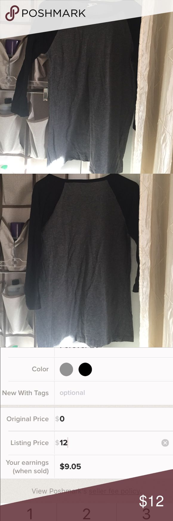Forever 21 black & grey raglan half sleeve shirt L Forever 21 grey & black half sleeve long sleeve size L. Material is very stretchy. Length is 26 inches. If you have any questions let me know. I AM A FAST SHIPPER 😬. I also have it available in blue as well Forever 21 Tops Tees - Long Sleeve