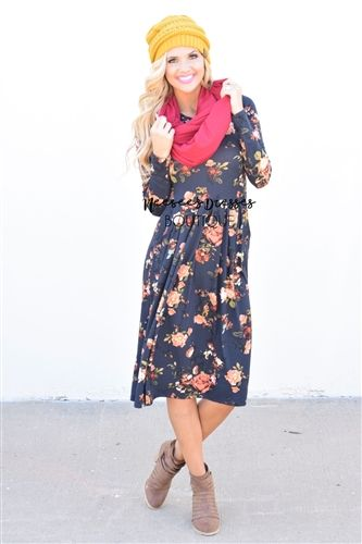 Navy Floral Sweater Dress, Modest Dress Bridesmaids Dress, Church Dresses, dresses for church, modest bridesmaids dresses, trendy modest dresses, modest womens clothing, affordable boutique dresses, cute modest dresses, mikarose, trendy modest boutique
