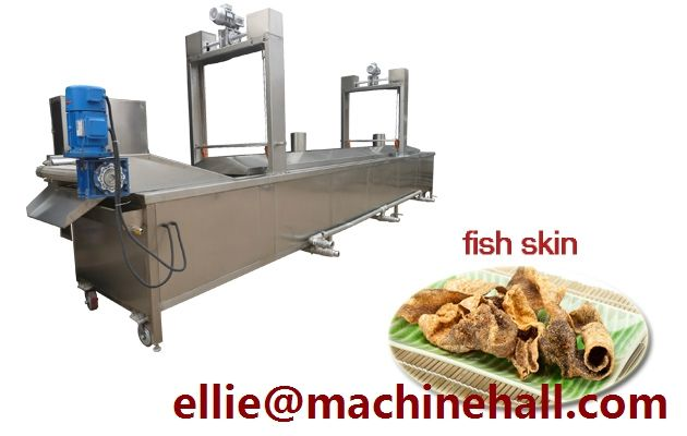 Fish Skin Frying Machine For Sale http://www.fried-machinery.com/products/meat-fryer/fish-skin-frying-machine.html
