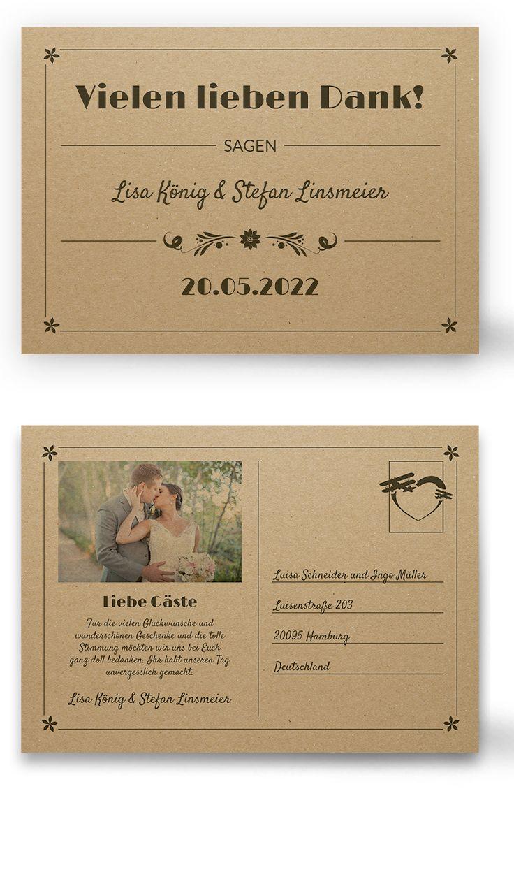 Danksagungskarten Retro Vintage Als Postkarte Auf Kraftpapier Schoner Vintagelook Tipp Schwa Postkarten Hochzeit Einladung Gestalten Gluckwunsche Hochzeit