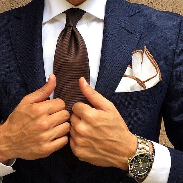 Brown tie is next addition, handkerchief wouldn't be to shabby either for Jason, he'd rock it
