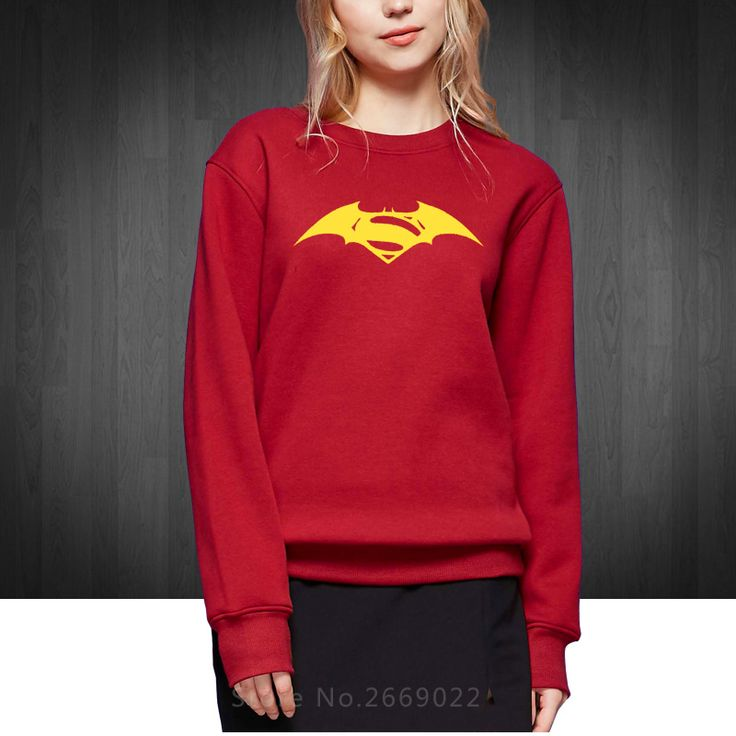 Movie Batman vs Superman Logo Novelty Printed Women's Sweatshirts O Neck Cotton Hoodies For Girl Woman Free Shipping #Affiliate