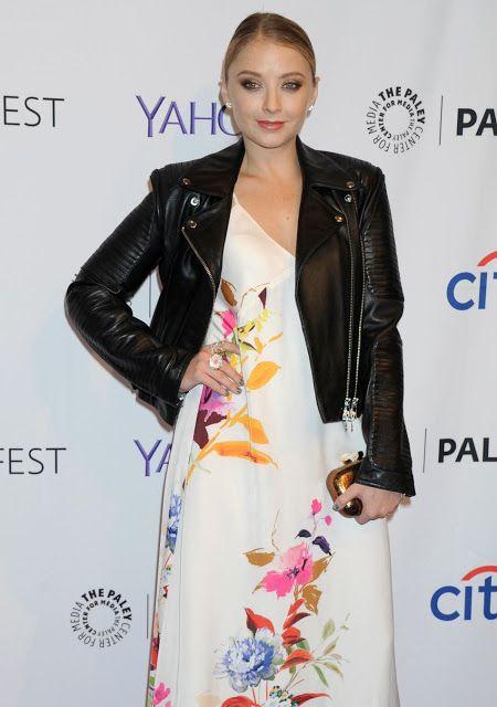 Celebrities In Leather: Elisabeth Harnois wears a black leather jacket