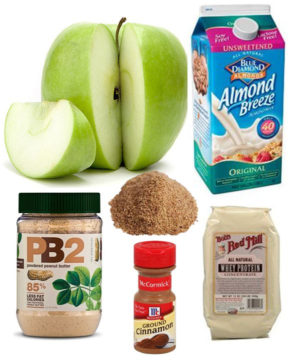 Apple & Peanut Butter Smoothie (268 cal, 8gm fat, 27gm carbs, 21gm protein, 7gm fiber) 1 green apple (chopped) + 1 cup unsweetened almond milk + 1/4 cup whey protein concentrate + 1 Tbsp PB2 peanut butter powder + 1 Tbsp ground golden flaxseed + 1/4 tsp cinnamon + OPTIONAL: ice cubes, stevia, 1/4 tsp of vanilla. Add ingredients to blender and blend for a couple of minutes. If you love peanut butter & apples, I think you'll enjoy this smoothie.