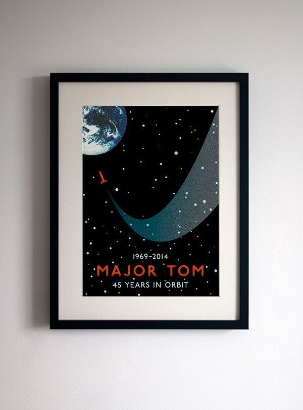 David Bowie 'Space Oddity' Poster Print Major Tom 45th Anniversary Commemorative Poster by StandardDesigns on Etsy https://www.etsy.com/listing/194486370/david-bowie-space-oddity-poster-print
