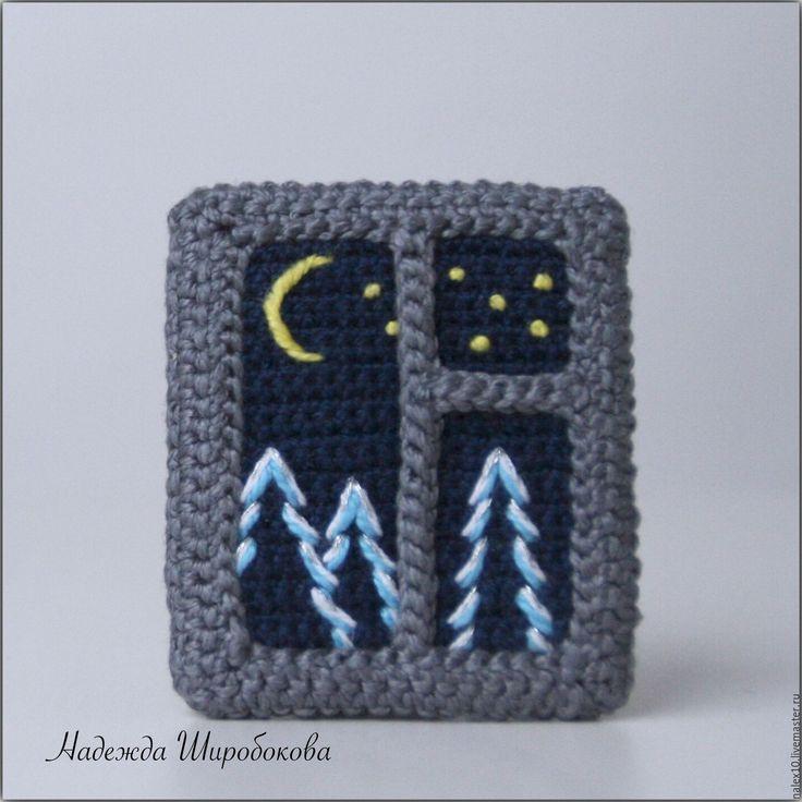 """Купить Брошь """"Зимняя ночь"""" - брошь окно, брошь с вышивкой, брошь вязаная, романтичное украшение"""