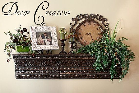 Pressed tin shelf Idea for dining room wall.