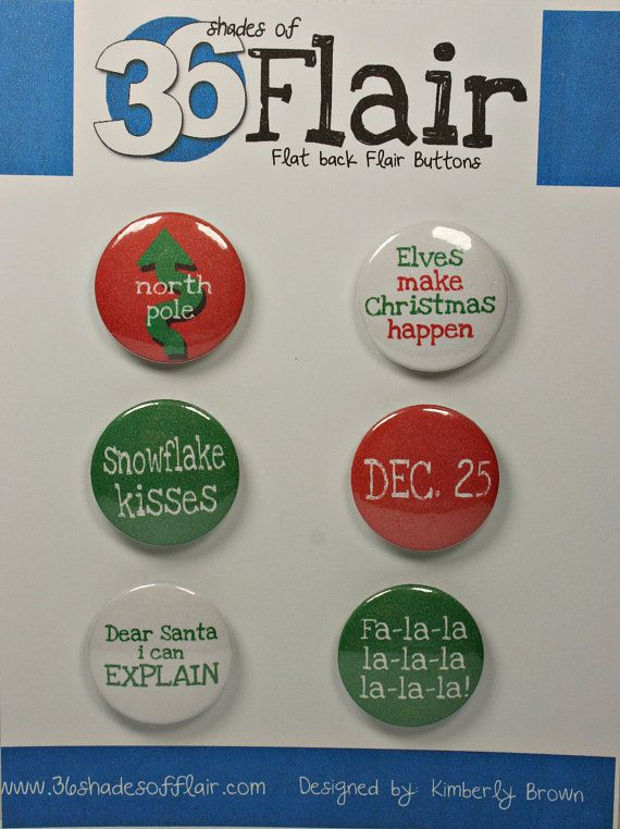 Christmas Fun Round Flat backed Flair Buttons by 36ShadesofFlair, $4.75