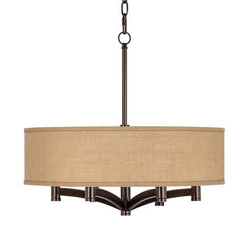 Woven Burlap Ava 6-Light Bronze Pendant Chandelier - #X9844-2W547 | Lamps Plus