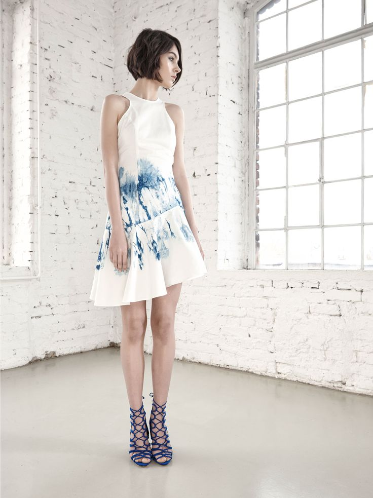 Asymmetrical Hand Dyed Dress by Fibula - buy online at Designrs.co. The whole production process of these garments are handmade. Fibula dyed the pattern with a technique called shibori, an ancient form of hand-dyeing originating from Japan.