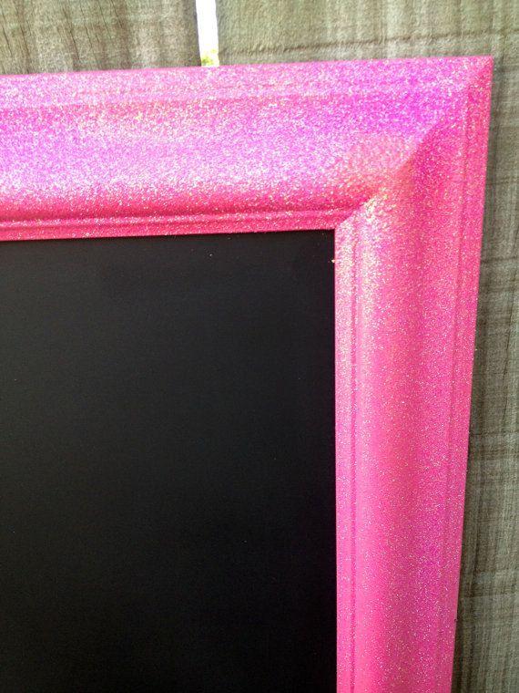 PINK Glitter FRAMED CHALKBOARD - Glitter wood frame turned Chalkboard! Perfectr for any girl bedroom. Ready to Ship on Etsy, $48.00