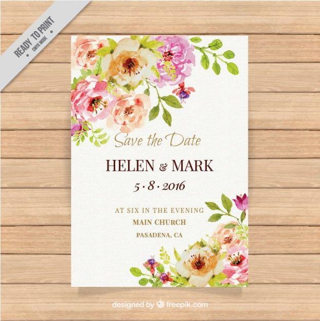 Invitación bonita de boda con flores de acuarela  Vector Gratis