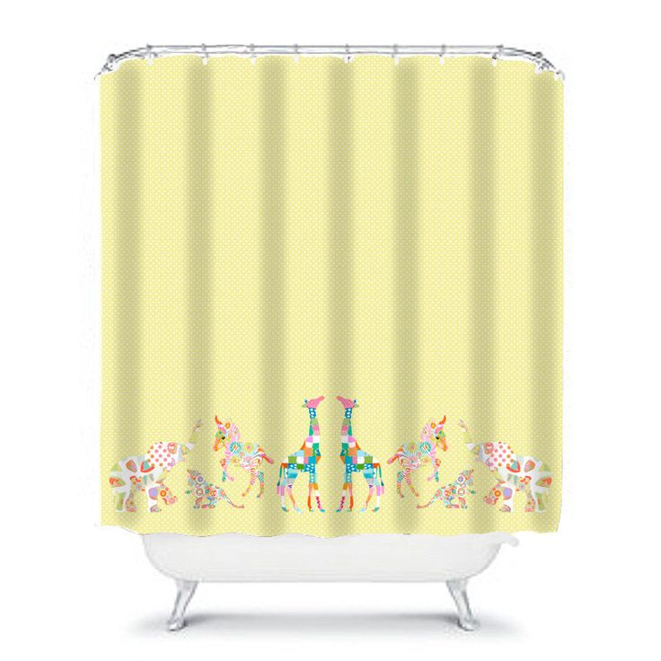 kids shower curtain,yellow shower curtain,kids bathroom decor,bathroom decor,baby girl shower,fun shower curtain,jungle bathroom,elephant by OzscapeHomeDecor on Etsy https://www.etsy.com/listing/238712910/kids-shower-curtainyellow-shower