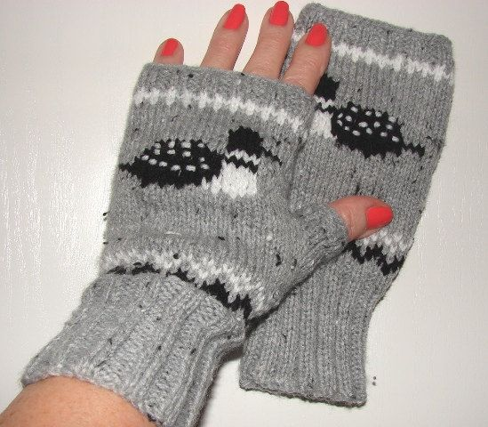 Loon mittens fingerless texting computer photography by Loonville