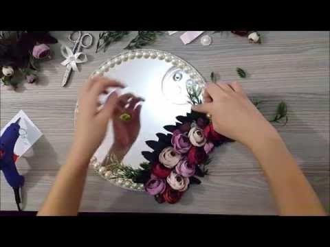 Kristal Taş ve İnci Süslemeli Yüzük Tepsisi Yapımı - YouTube