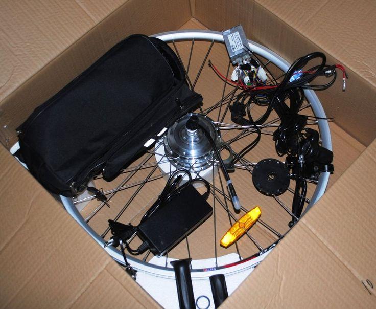"""bicicletta elettrica kit elettrificazione anteriore 28 """" x batteria  piombo v 24"""