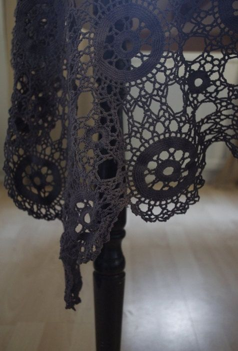 Vintage Crochet Hand Dyed Tablecloth.