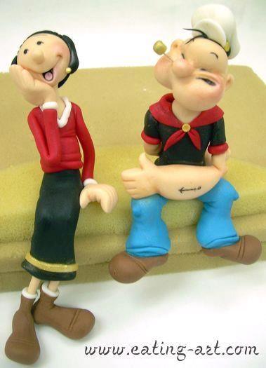 Popeye y  Oliva cake topper.