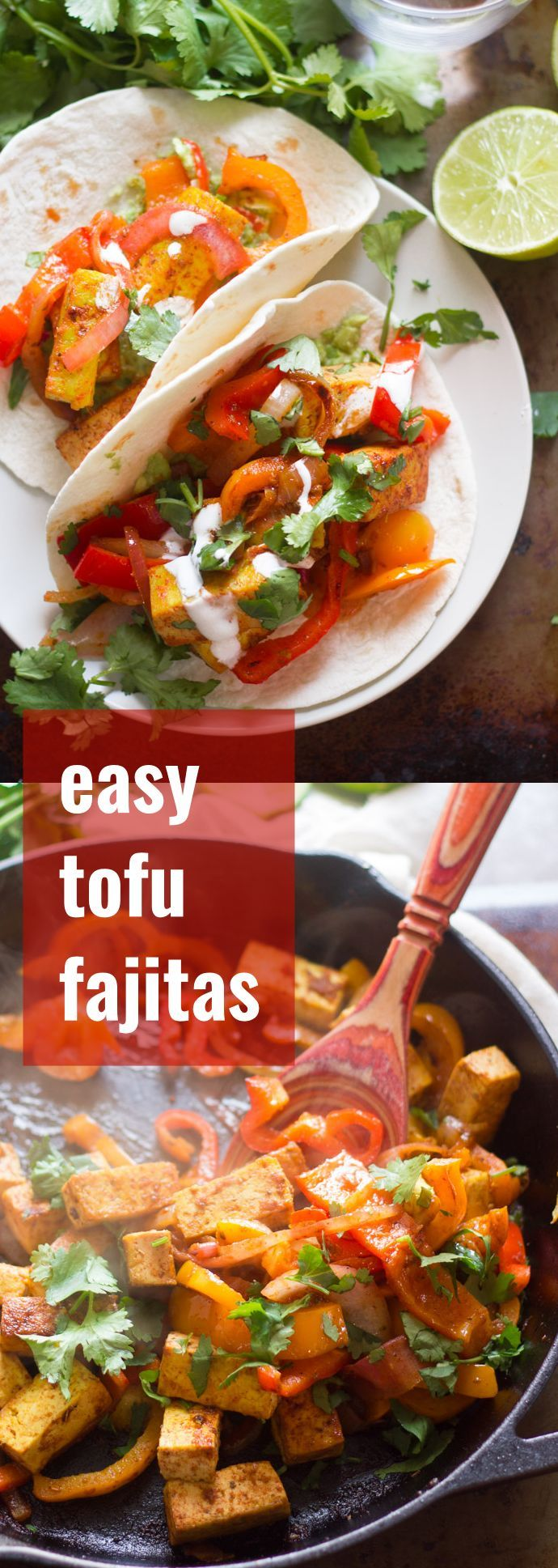 Tofu is pan-fried with peppers and onions, smothered in spicy sauce, and stuffed into warm tortillas to make these zesty vegan tofu fajitas.