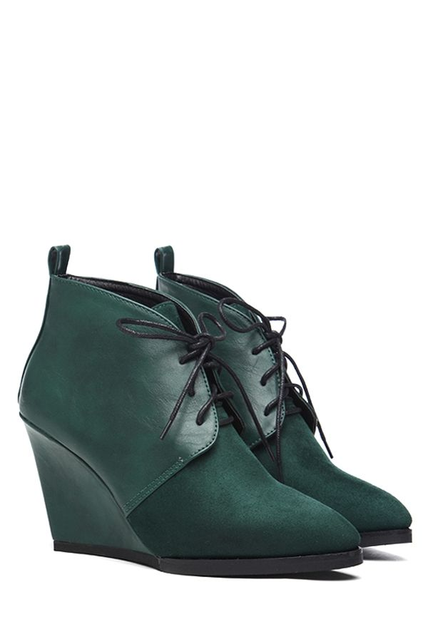 Wedge Heel Lace-Up Splice Short Boots