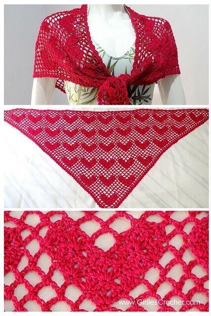 Sweet Heart Shawl : Free crochet pattern ~ k8~