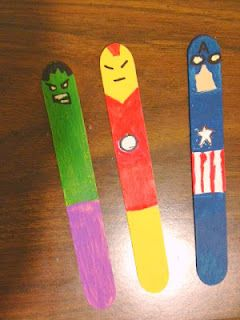 Super Hero Craft stick bookmarks. - Super Heroes...what's beneath the surface of Clark Kent or Peter Parker?? You could totally go that route for a Beneath the Surface event for teens at your library.  And with these you could make hilarious videos.