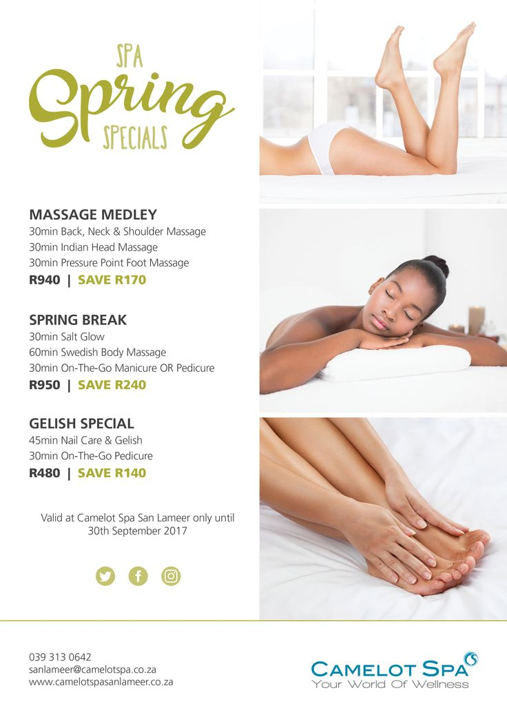 Don't let the winter blues get the better of you! Take advantage of these incredible specials from the Camelot Spa at San Lameer during the month of September!
