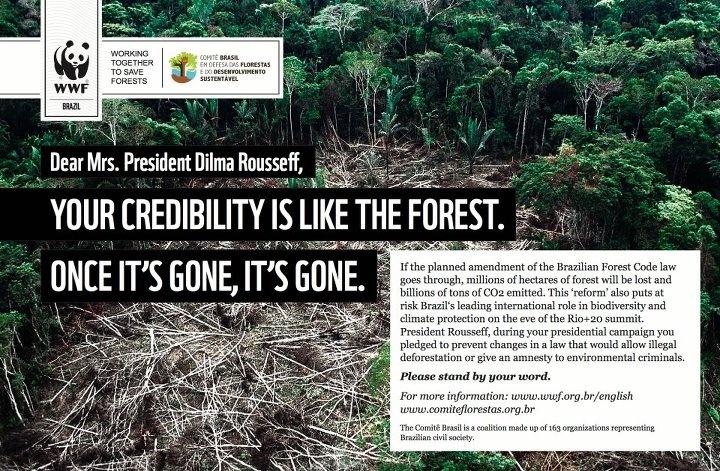 Heute steht in Brasilien eine weitere Abstimmung über das Waldgesetz im Parlament an. +++ Wir wissen nicht, ob es diesmal wirklich zur Abstimmung kommt. Aber wir wissen, dass die neueste Version noch schlimmere Auswirkungen hätte - 76,5 Millionen Hektar Regenwald sind bedroht! +++ http://bit.ly/Kahlschlag_in_Brasilien +++ Wenn es doch zu einer Abstimmung kommt, werden wir Präsidentin Dilma an ihr Versprechen erinnern: Brasiliens Wälder zu schützen!